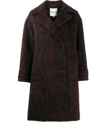kenzo animal print double-breasted coat - black