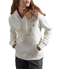 superdry women's vintage logo luster brushed hoodie