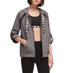 dkny sport women's roll-cuff boxy hoodie - grey melange - size l