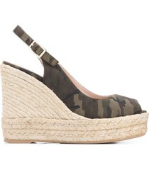 paul warmer camouflage wedge sandals - green