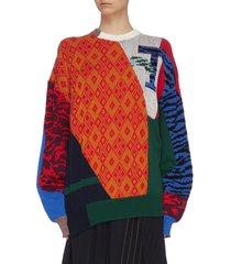 contrast print crew neck sweater