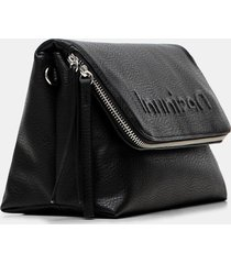 crossbody bag embossed logo - black - u