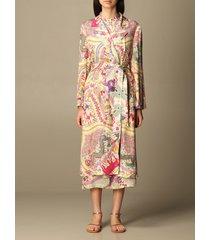 etro coat etro dressing gown duster coat in printed silk blend