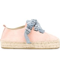 manebi bandana-print lace-up espadrilles - pink