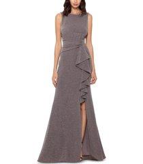 betsy & adam cascade-front glitter gown