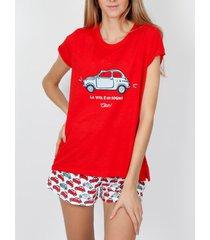 pyjama's / nachthemden admas pyjama kort t-shirt la vita rood