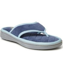 dearfoams women's melanie terry thong with quilted footbed slipper