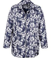 blommig jacka m. collection marinblå::benvit