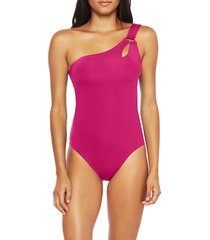 women's trina turk one-shoulder one-piece swimsuit, size 10 - purple