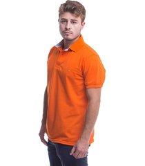 camiseta polo hamer, basica con bordado, para hombre color naranja
