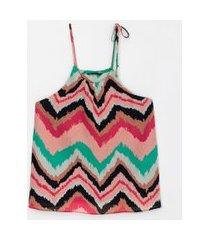 blusa regata com amarração estampa zigzag | a-collection | multicores | p