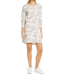 bobeau long sleeve shift dress, size large in camo print at nordstrom