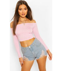 long sleeve polka dot bardot crop top, pink