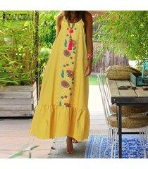zanzea verano de las mujeres de cuerpo entero floral sundress peplum de la llamarada el columpio vestido maxi largo cami -amarillo