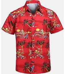 stampa manica corta hawaiian beach casual camicia da uomo