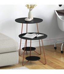conjunto mesa lateral e apoio skull com pés de ferro preto - rpm móveis