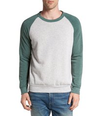 men's alternative 'the champ' trim fit colorblock sweatshirt, size small - green