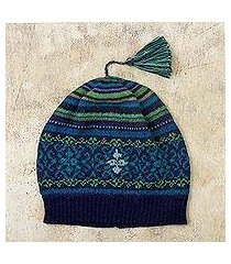 100% alpaca hat, 'blue turquoise' (peru)