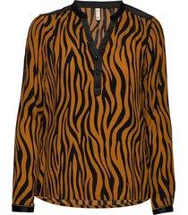pzfleur blouse blus långärmad orange pulz jeans