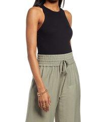 women's open edit crewneck rib bodysuit, size xx-small - black