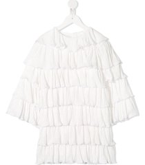 caroline bosmans frilly long sleeved dress - white