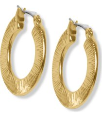 lucky brand gold-tone etched flat hoop earrings