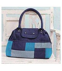 jute blend shoulder bag, 'blue patchwork' (india)