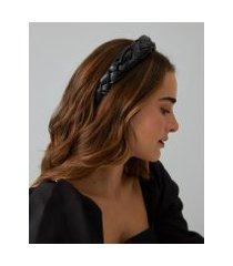 amaro feminino tiara trançada em pu, preto