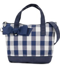 familiar bow detail check tote - blue