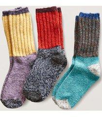 sundance catalog women's ragg time socks, set of 3 in peack i