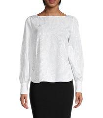 karen kane women's jacquard shirred sleeve top - white - size m