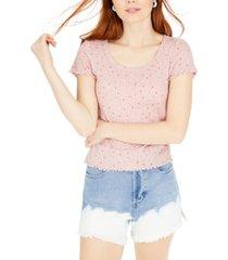 hippie rose juniors' printed pointelle-knit t-shirt