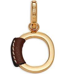 goldtone & leather o charm pendant
