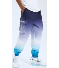 cordón con estampado de letras en color degradado de calle de moda para hombre carga pantalones