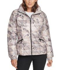 calvin klein snake-embossed hooded puffer coat