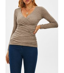 fitted v neck ruched wrap top