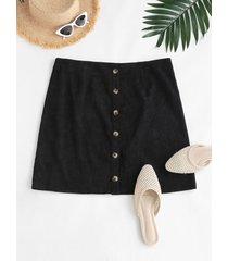 corduroy button up plus size mini skirt