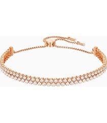 braccialetto subtle, bianco, placcato oro rosa