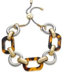 alfani two-tone & tortoise-look link slider bracelet, created for macy's