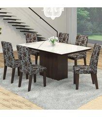 mesa de jantar 6 lugares manu venus ameixa/cobre/branco - viero móveis