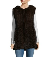 knitted mink fur hooded vest