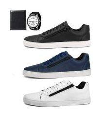 kit 3 pares sapatênis social sw shoes zíper + relógio e carteira preto/branco/azul