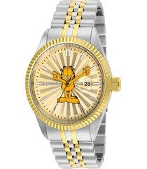 reloj invicta acero dorado modelo 248lk para hombres, colección character collection