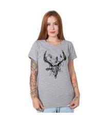 camiseta  stoned deer skull cinza