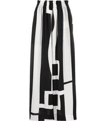 henrik vibskov strong man abstract-print crepe maxi skirt - white