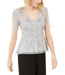 adrianna papell beaded illusion top