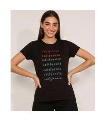 """camiseta de algodão california"""" manga curta decote redondo preta"""""""