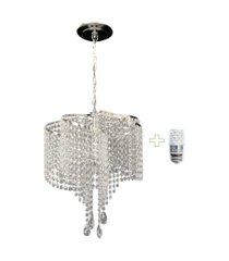 kit lustre cristal acrílico 42x75 + 1 lâmpada led acl33