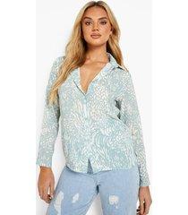 getailleerde monochrome dierenprint blouse, mint