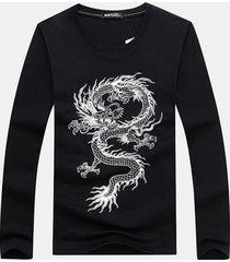 t-shirt da uomo manica lunga con stampa o-collo drago cinese per uomo